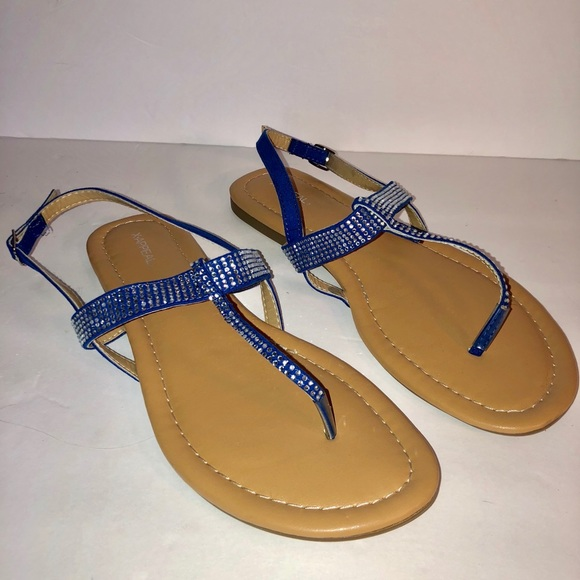 Womans Royal Blue Rhinestone Sandal